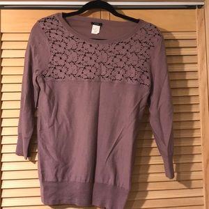 Purple j crew 3/4 sleeve sweater